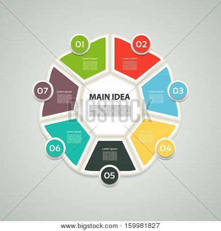 Heptagon infographic. Chart diagram with 7 steps options parts processes. Vector design element.
