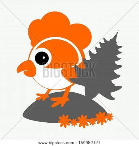 rooster, cockerel, chicken with a fir-tree a logo a symbol 2017 on the Chinese calendar. The silhouette is orange, gray two colors on the white easily separated background. Vector illustration. To use for the press, the website, undershirts, t-shirts, tex
