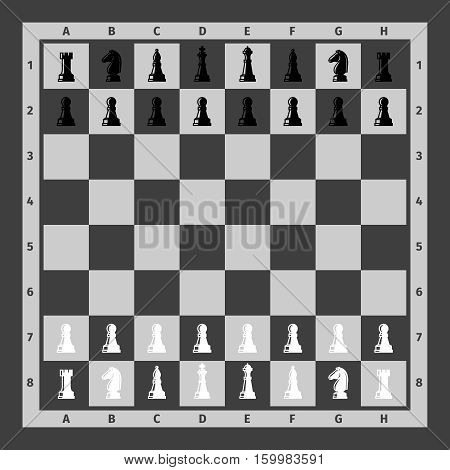 Chess pieces set on chess board. Vector illustration
