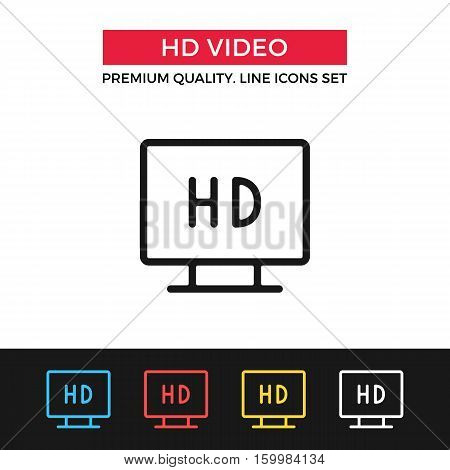 Vector HD video icon. High definition video concept. Premium quality graphic design. Signs, outline symbols collection, simple thin line icons set for websites, web design, mobile app, infographics