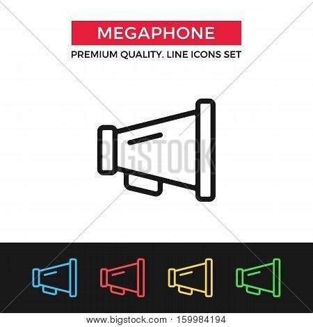 Vector megaphone icon. Vintage bullhorn, loudspeaker. Premium quality graphic design. Signs, outline symbols collection, simple thin line icons set for websites, web design, mobile app, infographics