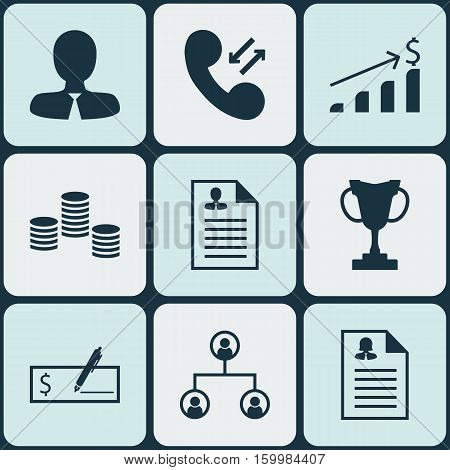 Set Of 9 Management Icons. Can Be Used For Web, Mobile, UI And Infographic Design. Includes Elements Such As Check, Organisation, Structure And More.