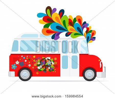 Hippie bus icon with floral element on white background. Vector illustration