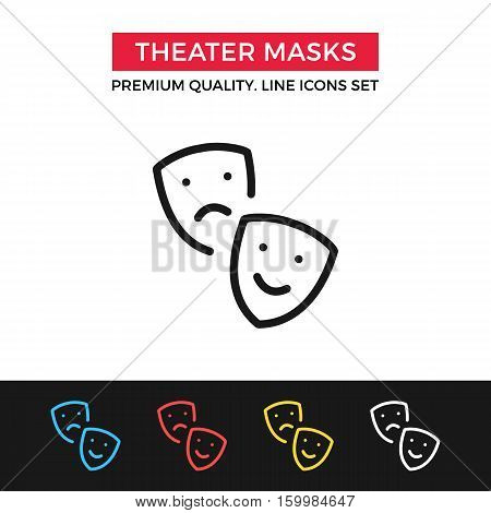 Vector theater masks icon. Drama, tragedy and comedy, Thalia and Melpomene. Premium quality graphic design. Signs, symbols, simple thin line icons set for website, web design, mobile app, infographics poster