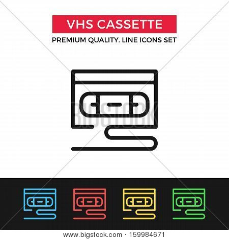 Vector VHS cassette icon. Premium quality graphic design. Modern signs, outline symbols collection, simple thin line icons set for websites, web design, mobile app, infographics