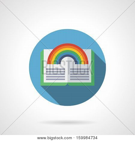 Bright image of open book with green cover and rainbow. Fantasy literature, interesting mysterious, magic, mythology. Reading concept. Round blue flat color design vector icon.