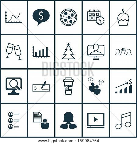 Set Of 20 Universal Editable Icons. Can Be Used For Web, Mobile And App Design. Includes Elements Such As Decorated Tree, SEO Brainstorm, Business Deal And More.