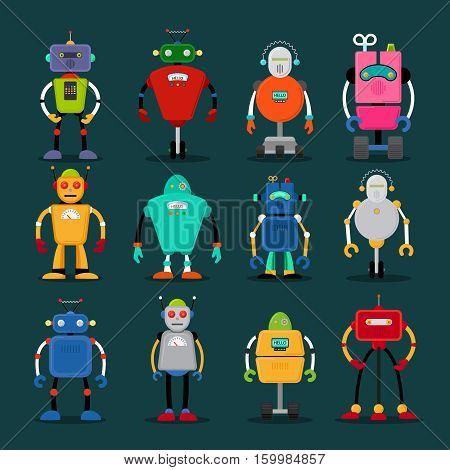 Cute robots colorful icons big set. Vector illustration