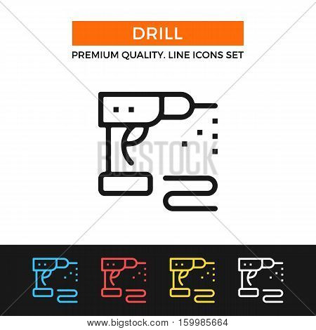 Vector drill icon. Power tool concept. Premium quality graphic design. Modern signs, outline symbols collection, simple thin line icons set for websites, web design, mobile app, infographics