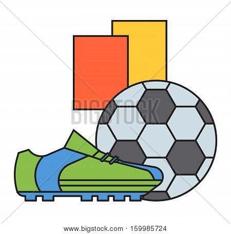 Football soccer leather ball and sport boots isolated on white. Fashion footwear team game equipment championship exercise. Recreation hobbies foot shoelace clothing.