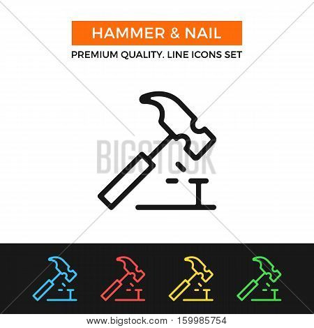 Vector hammer and nail icon. Drive a nail concept. Premium quality graphic design. Modern signs, outline symbols collection, simple thin line icons set for website, web design, mobile app, infographic