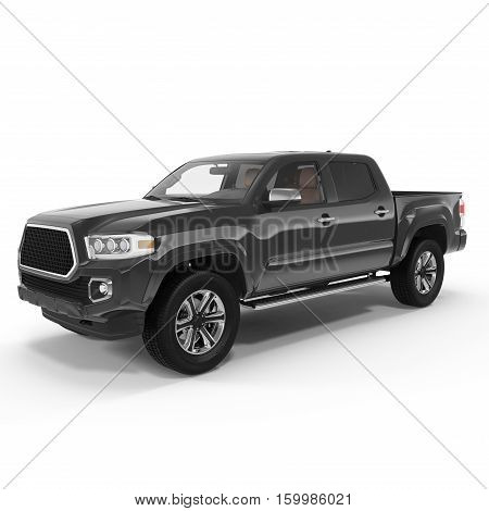 Black Pick up Truck on white background. 3D illustration