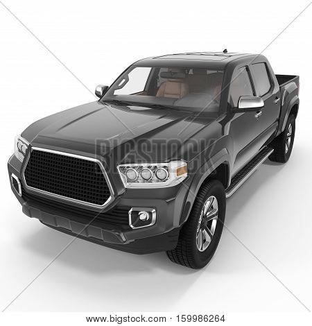Black Pick up Truck on white background. 3D illustration