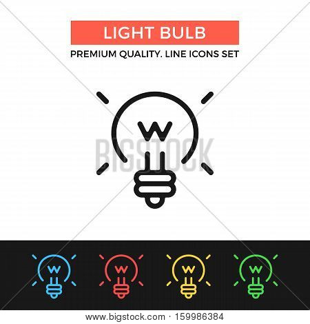 Vector light bulb icon. Shining lightbulb. Premium quality graphic design. Modern signs, outline symbols collection, simple thin line icons set for websites, web design, mobile app, infographics