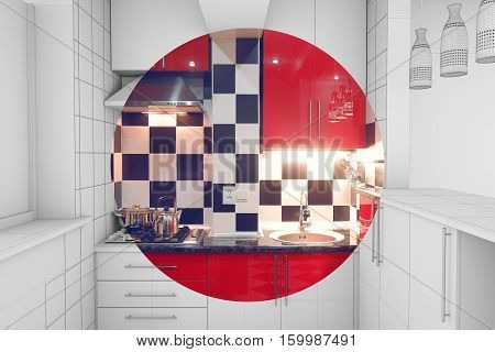 Modern interior of small red kitchen half finished half 3d illustration clay render