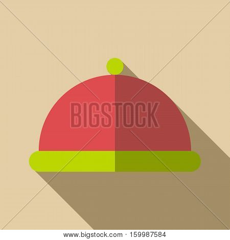 Tray with lid icon. Flat illustration of tray with lid vector icon for web
