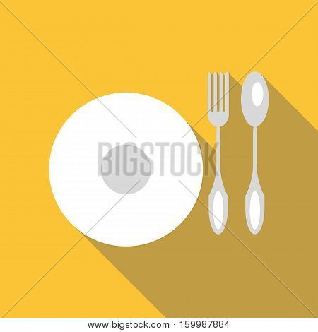 Plate with cutlery icon. Flat illustration of plate with cutlery vector icon for web
