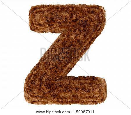 3D Bushy Bear Fur Alphabet Capital Letter Z