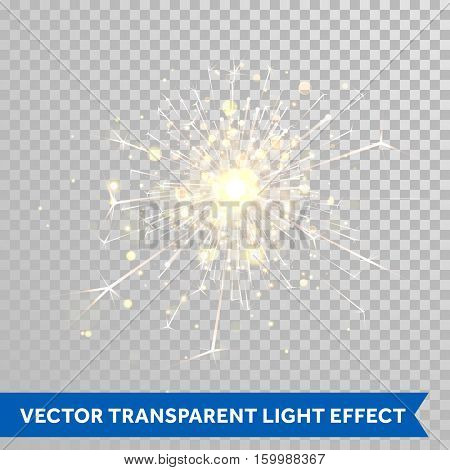 Sparkler light. Firework magic glitter effect. Vector magic sparkling star glittering shine. Shiny Christmas decoration design