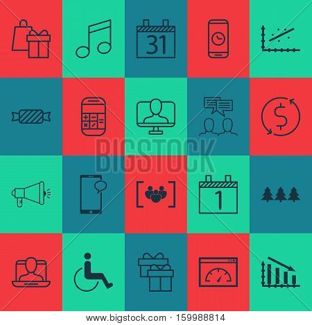 Set Of 20 Universal Editable Icons. Can Be Used For Web, Mobile And App Design. Includes Elements Such As Calculation, Present, Shopping And More.