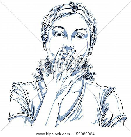 Graphic Vector Hand-drawn Illustration Of White Skin Impressed Lady Gesturing With Hands. People Fac