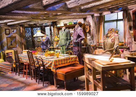 Leavesden, London, UK - 1 March 2016: Interior of Burrow, house for Weasleys. Decoration of Warner Brothers Studio