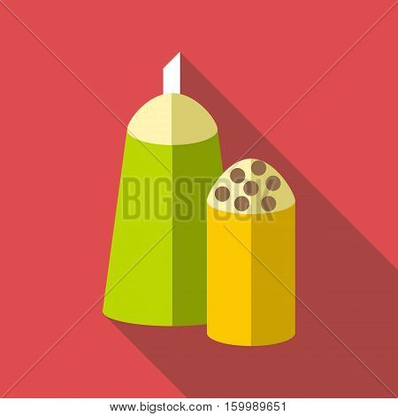 Salt and pepper shakers icon. Flat illustration of salt and pepper shakers vector icon for web