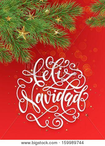 Spanish Merry Christmas Feliz Navidad background decoration ornaments of gold stars, golden balls, Christmas tree branches. Merry Christmas text calligraphy lettering