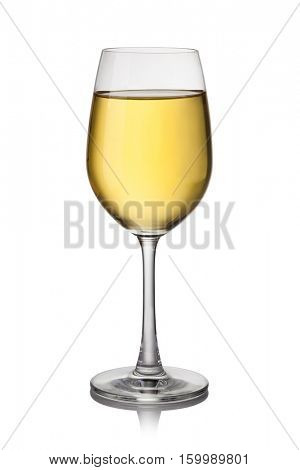 white wine glass isolated on a white background