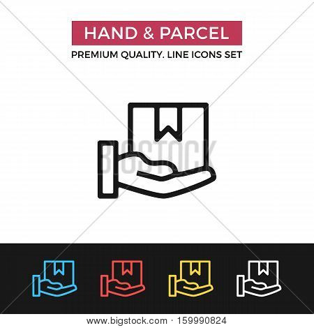 Vector hand and parcel icon. Home delivery, receive parcel concept. Premium quality graphic design. Signs, outline symbols, simple thin line icons set for website, web design, mobile app, infographics