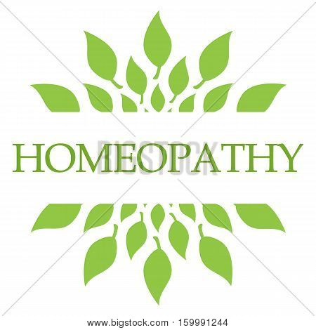 Homeopathy concept image with text and leaves symbols.