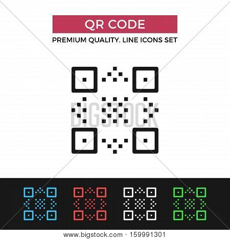 Vector QR code icon. Premium quality graphic design. Modern signs, outline symbols collection, simple thin line icons set for websites, web design, mobile app, infographics
