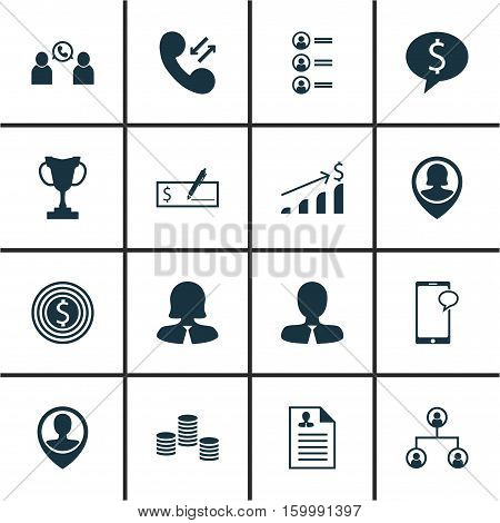 Set Of 16 Human Resources Icons. Can Be Used For Web, Mobile, UI And Infographic Design. Includes Elements Such As Prize, Opinion, Success And More.