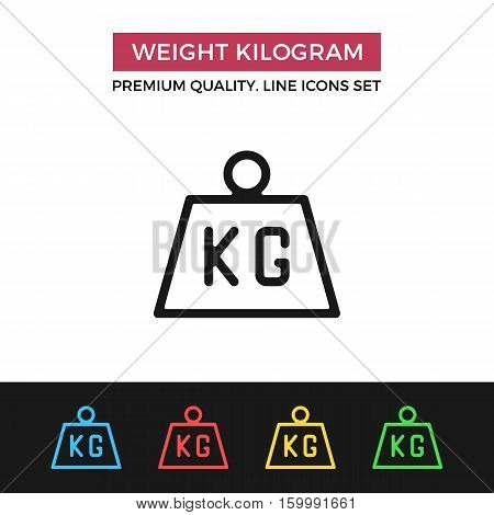 Vector weight kilogram icon. Premium quality graphic design. Modern signs, outline symbols collection, simple thin line icons set for websites, web design, mobile app, infographics