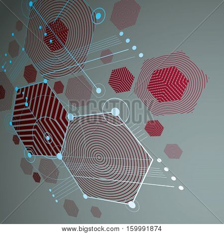 Bauhaus retro perspective red art vector background made using lines and honeycombs. Geometric graphic 1960s illustration can be used as booklet cover design.