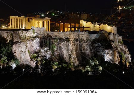 Athens Greece night view of Partehnon temple on Acropolis hill