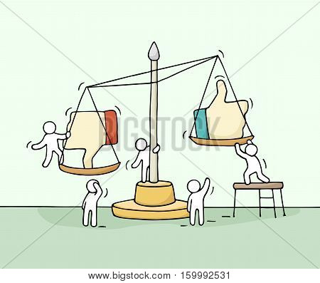 Sketch of working little people with scale. Doodle cute miniature scene of workers choosing between like and dislike. Hand drawn cartoon vector illustration for social media design. poster