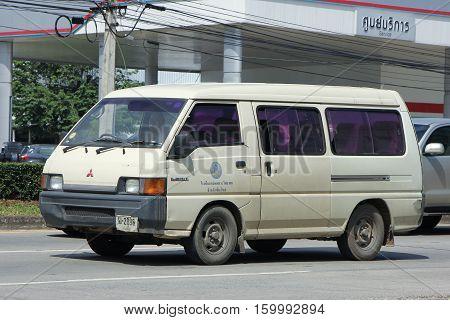 CHIANG MAI THAILAND - OCTOBER 28 2016: School bus van of Mae Hor Phrae School Mitsubishi Van. On road no.1001 8 km from Chiangmai Business Area.