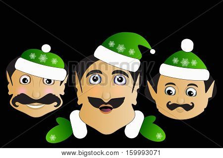 Elf Icon Basic Simplified Christmas Smiley Face On A Black Background