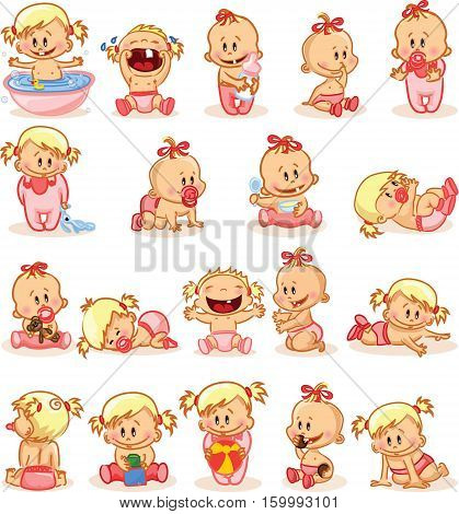 Vector illustration of baby girls,illustration picture for your design