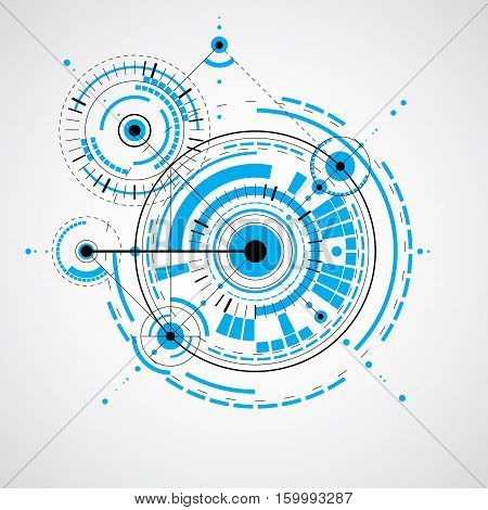 Mechanical scheme vector blue engineering drawing with circles and geometric parts of mechanism. Technical plan can be used in web design
