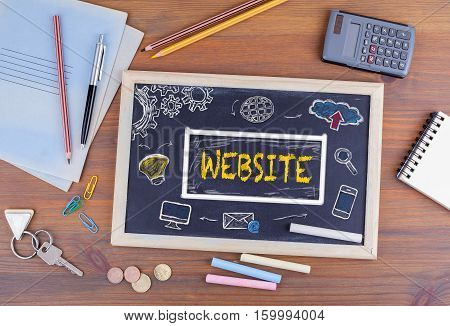Website, Domain HTML Web Design Concept. Chalkboard on wooden office desk.