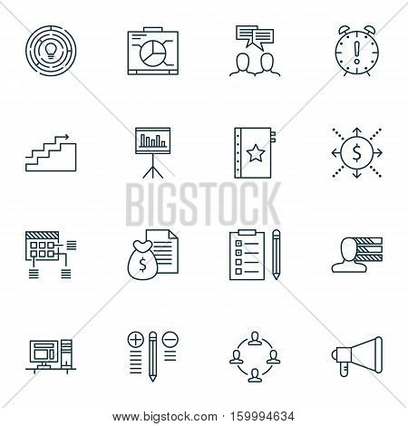 Set Of 16 Project Management Icons. Can Be Used For Web, Mobile, UI And Infographic Design. Includes Elements Such As Personality, Revenue, Report And More.