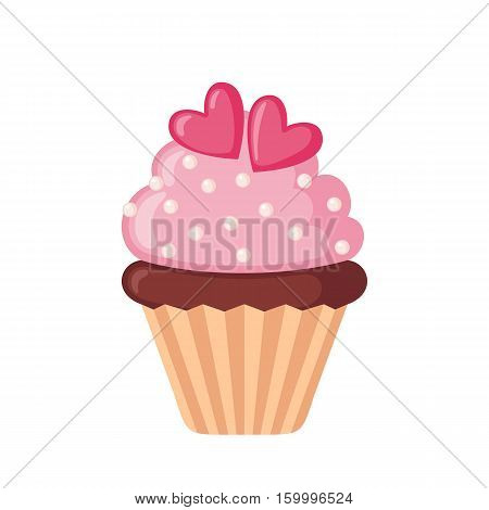 Valentine cupcake icon with hearts in flat style isolated on white background. Love concept. Vector illustration.