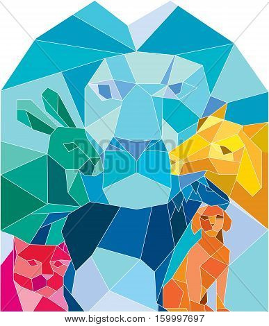Low polygon style illustration of a lion rabbit cat horse dog and goat viewed from front set on isolated white background.
