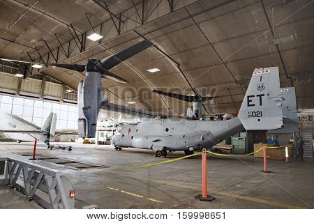 DAYTON, OHIO, USA-NOVEMBER 18, 2016:CV-22 Osprey Tiltrotor Special Operation Forces test aircraft, combines features of helicopter and turboprop. Shown here in National Museum USAF restoration area.