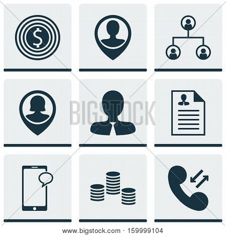 Set Of 9 Management Icons. Can Be Used For Web, Mobile, UI And Infographic Design. Includes Elements Such As Goal, Structure, Career And More.
