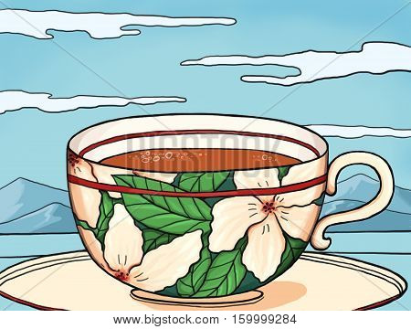 digital illustration of a cup of tea in a beautifully decorated cup