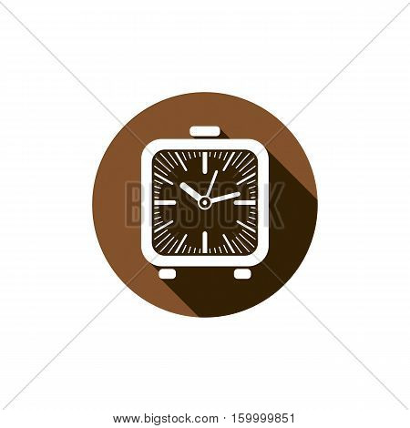 Time Conceptual Stylish Icon, Simple Desk Clock Placed In A Circle. Can Be Used In Advertising And A