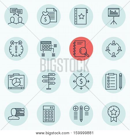 Set Of 16 Project Management Icons. Can Be Used For Web, Mobile, UI And Infographic Design. Includes Elements Such As Making, Research, Dashboard And More.